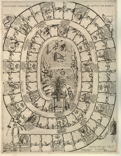 Filosofia cortesana de Alonso de Barros  Etching/engraving made by Mario Cartaro in Venice in 1588. The game squares, numbering up to 63, lead to the ships sailing in the centre of the board on the 'sea of suffering'.