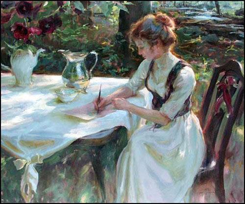 Dama escribiendo a mano