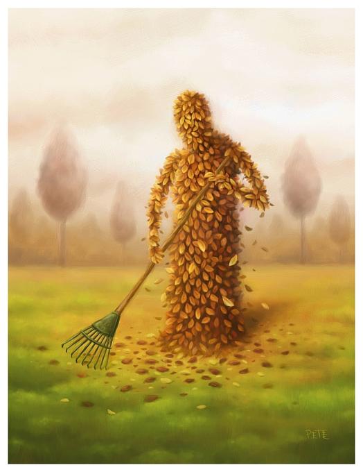 hombre de hojas